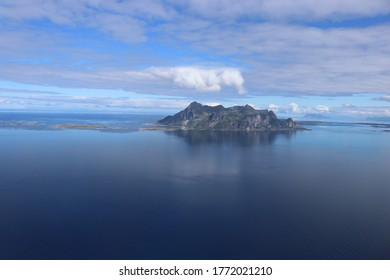 FINNES, NORDLAND COUNTY / NORWAY - JULY 05 2020: View from the Finnesfjellet mountain to the Fugløya (Fugloya) island in the Nordland county, Norway