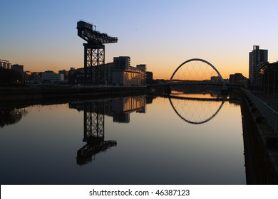 Finneston Crane and the Clyde Arc bridge in Glasgow in morning light