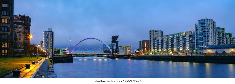 Finnieston Crane and Clyde Arc (Squinty Bridge) above the water of the Clyde at Pacific Quay, Glasgow, Scotland, UK