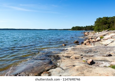 Finnish archipelago scenery, sunny summer day on the shores of the Baltic sea.
