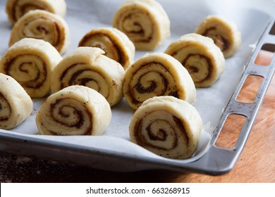 Finnish buns on the rustic bakery tray