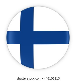 Finnish Flag Button - Flag of Finland Badge 3D Illustration