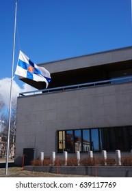 Finnish Flag At Half Mast