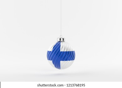 Finnish flag on a glossy christmas ball hanging on a string on white background
