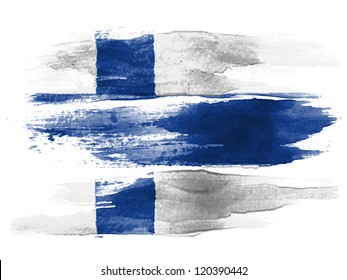 The Finnish flag painted on white paper with watercolor