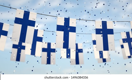 Finnish flags in the sky with confetti.