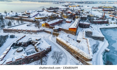 finnish fortress Suomenlinna at the coast of Baltic sea in Helsinki, Finland . Aerial view.
