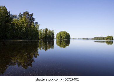 Finnish landscape with calm lake surface in Finland. The sky is cloudless and blue. The lake surface is pollen from trees.