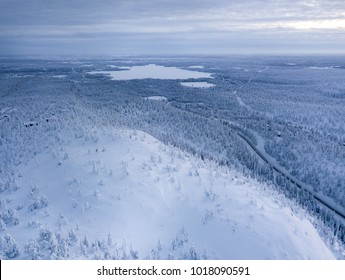 Finnish Lapland. Winter scenery. Landscape photo captured with drone above winter wonderland.