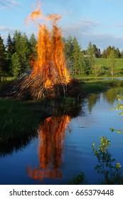 Finnish Midsummer Feast's Bonfire