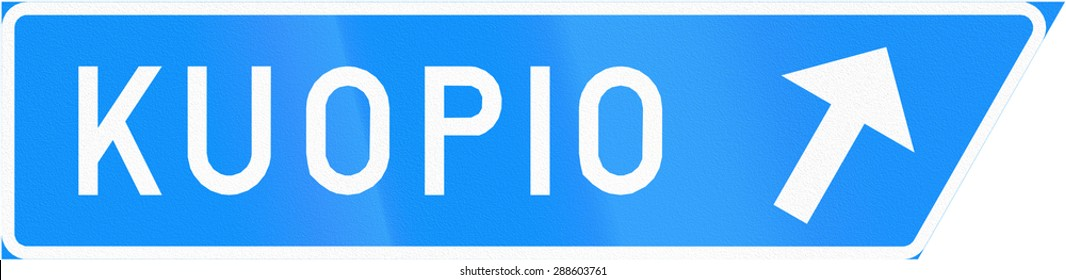 Finnish road sign - Exit sign to Kuopio