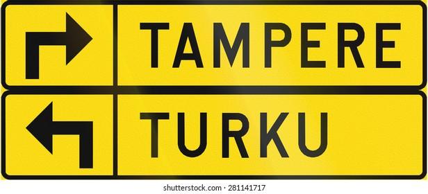 Finnish road sign no. 613. Advisory sign for detour