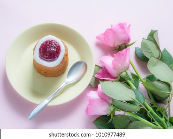 Finnish Runeberg day pastry with pink roses