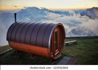 Finnish sauna on the top of mountain at Rifugio Lagazuoi (2752m) in the Dolomites Italian alps