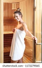 Finnish sauna, sauna session for health and beauty.