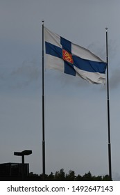Finnish  State flag at the flag pole