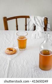 Finnish traditional Vappu food, sugar donuts with sima