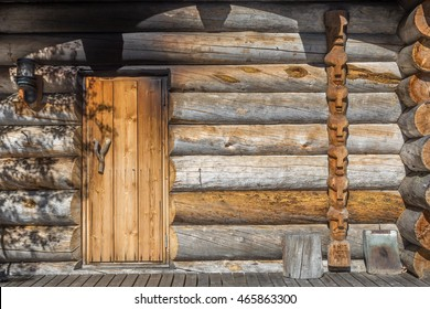 Finnish wooden loghouse in the forest of Lapland
