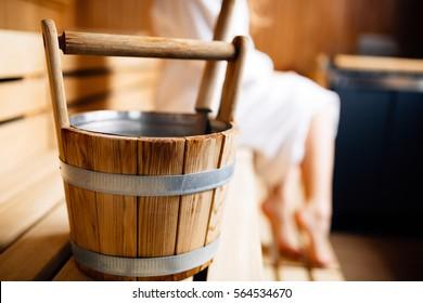 Finnish wooden sauna bucket