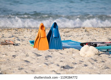 Fins diving equipment on the beach