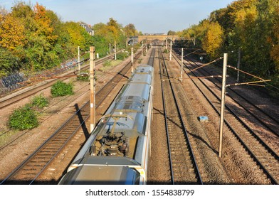 FINSBURY PARK, LONDON/UK - November 6, 2019. Pantograph and associated electrical equipment on a northbound passenger train, Finsbury Park, London, England
