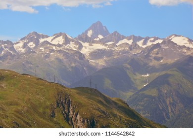 The Finsteraarhorn in the Bernese Alps viewed from the Nufenen Pass in Southern Switzerland