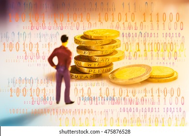 FINTECH Concept. Man standing in font of stack of money coins with abstract digital binary code.