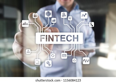 Fintech - digital financial technology. Blockchain and cryptocurrency.