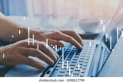 fintech and financial business analytics concept, candlestick chart about finance and trading quotations, KPI statistics