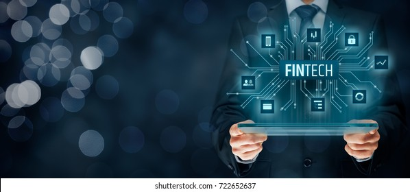 Fintech (financial technology) concept. Business person with tablet and fintech illustration.