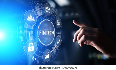 Fintech Financial technology Cryptocurrency investment and digital money. Business concept on virtual screen.