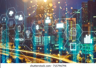 Fintech icon and internet of things with matrix code background, Investment and financial internet technology concept.