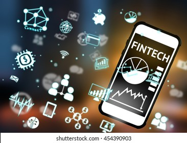 Fintech Investment Financial Internet Technology Concept. icon , smart phone , blurred finger  with abstract background