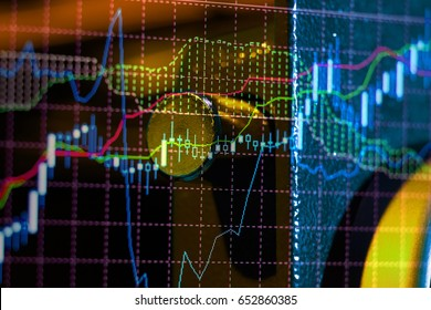 Fintech Investment Financial Internet Technology Concept. Currencies trading via digital info with stock market graph background. Blockchain, Financial Internet Technology as a new trend marketing.