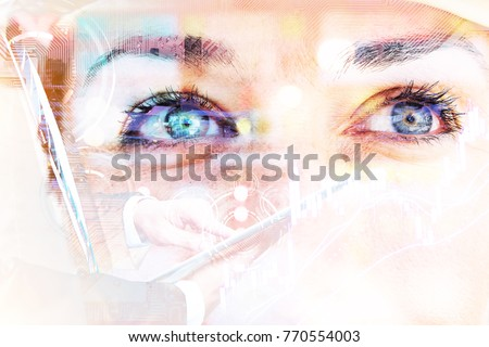 Fintech Investment Financial Technology Concept. P2P Payment concept image.Startup and crowd funding concept. Stock market graph. Double exposure of business man using tablet and woman eyes.