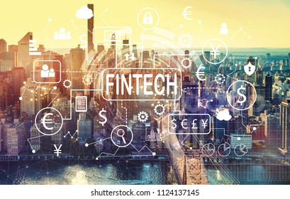 Fintech theme with aerial view of Manhattan, NY skyline