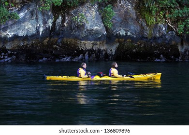 FIORDLAND, NZ- FEB 28:Sea kayak explores Milford Sound on February 28 2009.It's one of the most dramatic parts of New Zealand and the largest of NZ national parks with an area of 12,500 km�².