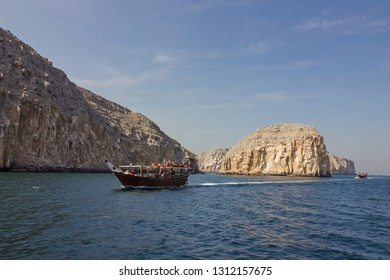 Fiords and dhow boat sea view, Oman, Khasab. Musandam peninsula.