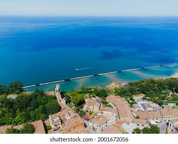 Fiorenzuola di Focara view from above, Marche region in Italy, Parco Naturale Monte San Bartolo