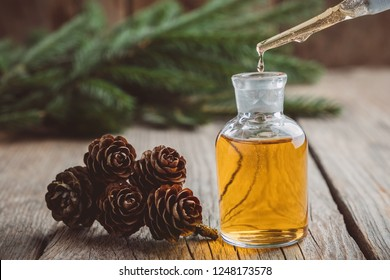 Fir aromatic oil  in a glass dropper bottle, a drop of pine essential oil dripping from glass dropper. Spruce cones, coniferous tree branches on background, not in focus.