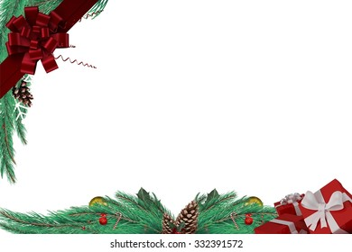 Fir branch frame with decorations on white background