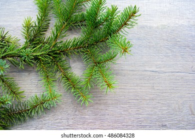 fir branch on wooden, decoration, Christmas, blank, background