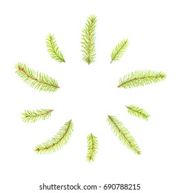 fir tree branches in the form of a circle isolated on white background, symbol of the New Year and Merry Christmas