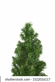 Fir tree isolated on white background christmas new year winter, minimal, Flat lay, copy space for text