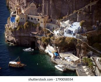 Fira, Santorini island/Greece - October 10 , 2019 :  Views of the historical part of Fira, Santorini island Greece. Panoramic views of the mountains, sea and nature.