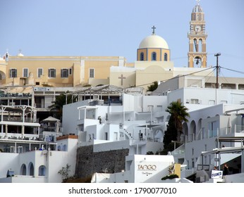 Fira, Santorini island/Greece - October 10 , 2019 :  Views of the historical part of Fira, Santorini island Greece. View of the traditional churches in the central part of the city.