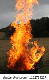 Fire against country background