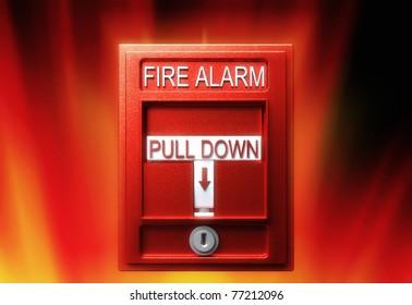 Fire alarm, 3d render, over fire background