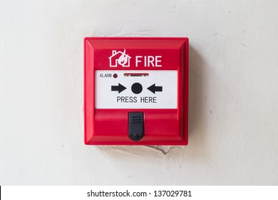 Fire alarm box on  the wall