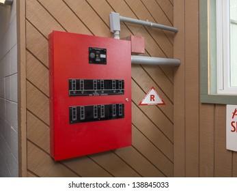 Fire alarm control panel in apartment complex
